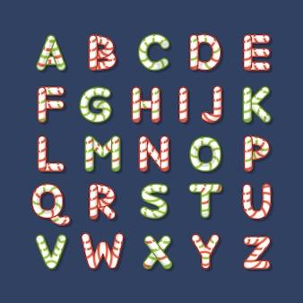 Letras do alfabeto natalino de cana doce