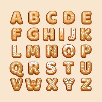 Letras do alfabeto natalino de gengibre