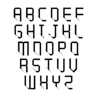 Letras do alfabeto preto com efeito de sombra no fundo branco. ilustração vetorial.