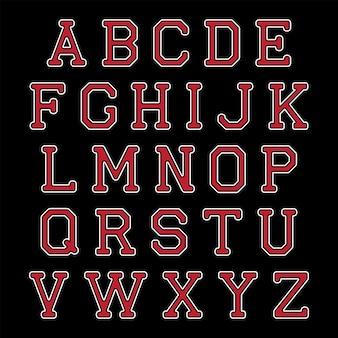 Letras do alfabeto preto e vermelho