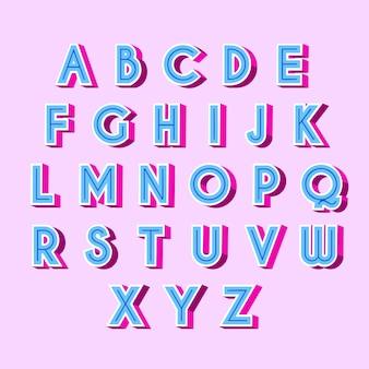 Letras do alfabeto retrô 3d azul com sombras rosa
