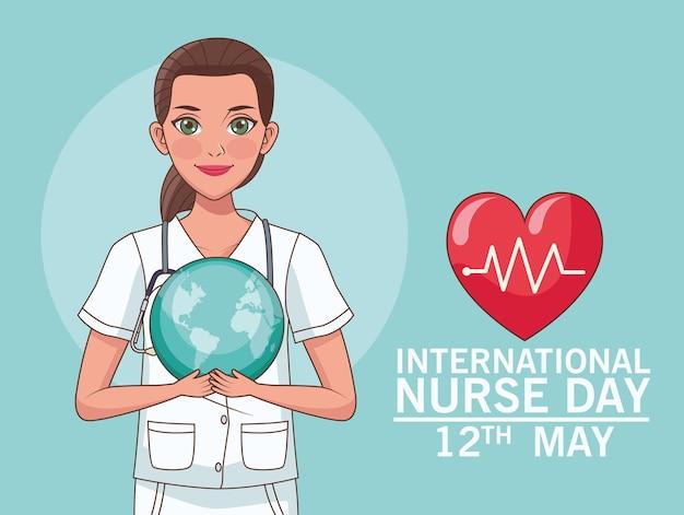 Letras do dia da enfermeira com coração