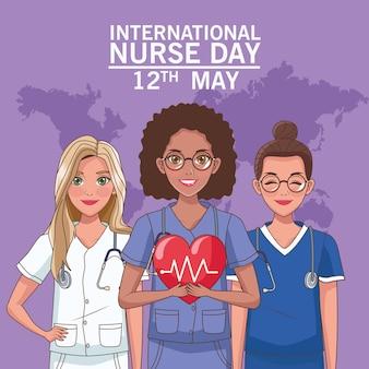 Letras do dia da enfermeira com mapa-múndi