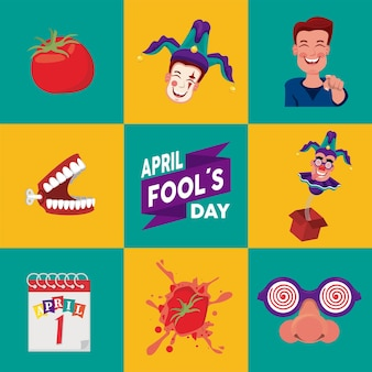 Letras do dia da mentira com ilustração de oito conjuntos