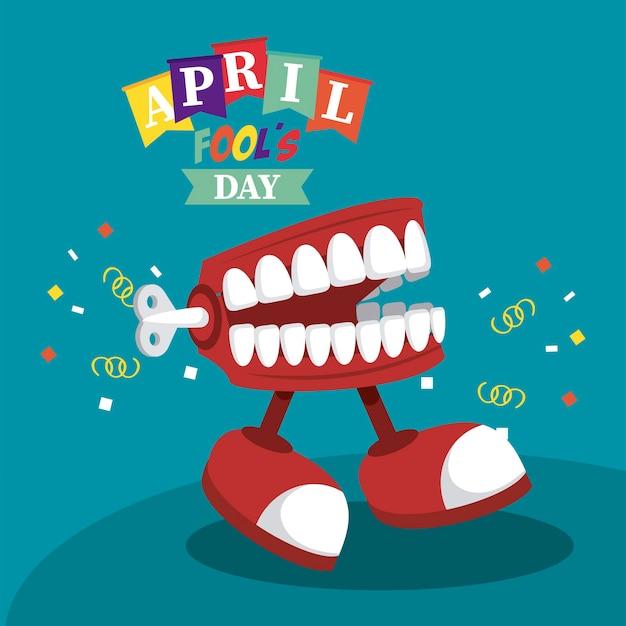 Letras do dia da mentira com ilustração piada sobre dentadura