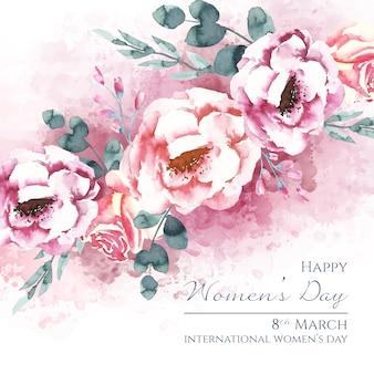 Letras do dia da mulher com lindas rosas em aquarela