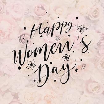 Letras do dia da mulher em fundo floral