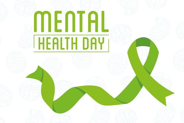 Letras do dia da saúde mental com fita verde da campanha