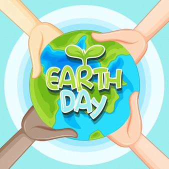 Letras do dia da terra e ilustração do globo da terra