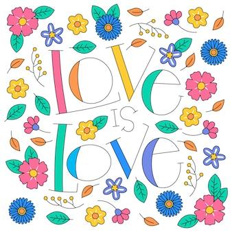 Letras do dia do orgulho com flores