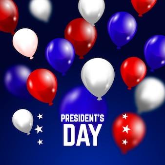 Letras do dia do presidente com balões coloridos realistas