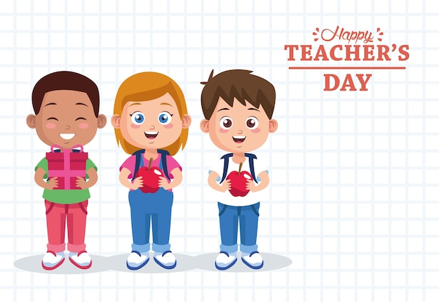 Letras do dia do professor com grupo de alunos