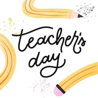 Letras do dia dos professores em aquarela