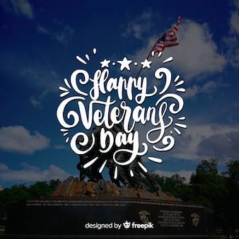 Letras do dia dos veteranos fora do fundo