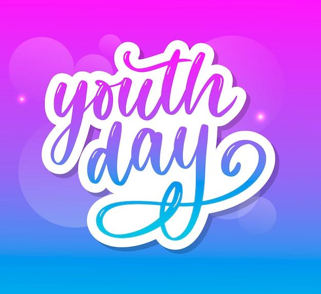 Letras do dia internacional da juventude slogan de fundo amarelo