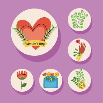 Letras do dia internacional da mulher em fita com ilustração de coração e conjunto de ícones