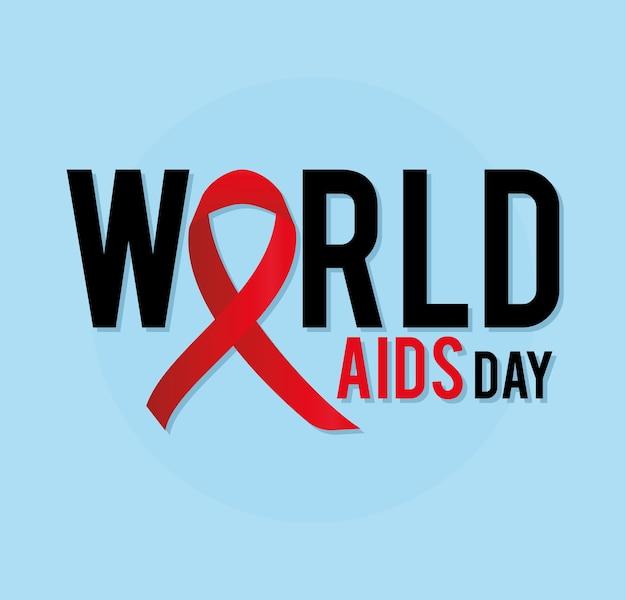 Letras do dia mundial da aids com uma fita na ilustração azul
