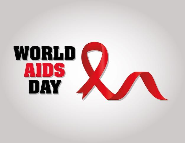 Letras do dia mundial da aids com uma fita na ilustração direita