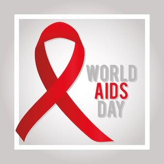 Letras do dia mundial da aids em um quadrado com uma grande ilustração de fita vermelha