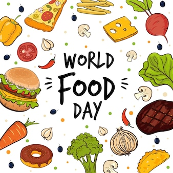 Letras do dia mundial da comida rodeadas de produtos alimentares