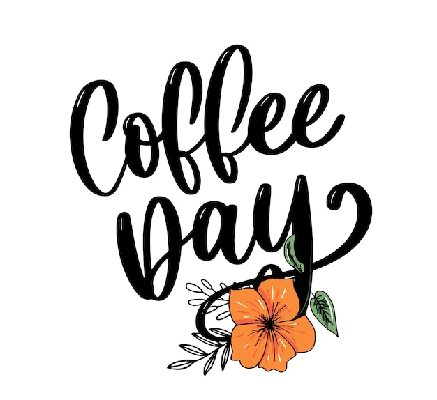 Letras do dia mundial do café sobre fundo branco