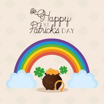 Letras do feliz dia de são patrício, arco-íris com duas nuvens e ilustração do pote cheio de moedas de ouro