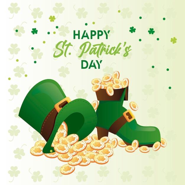 Letras do feliz dia de são patrício com moedas do tesouro em chapéu de duende e ilustração de bota