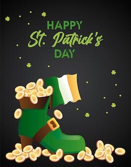 Letras do feliz dia de são patrício com um tesouro em bota de elfo e ilustração da bandeira irlandesa