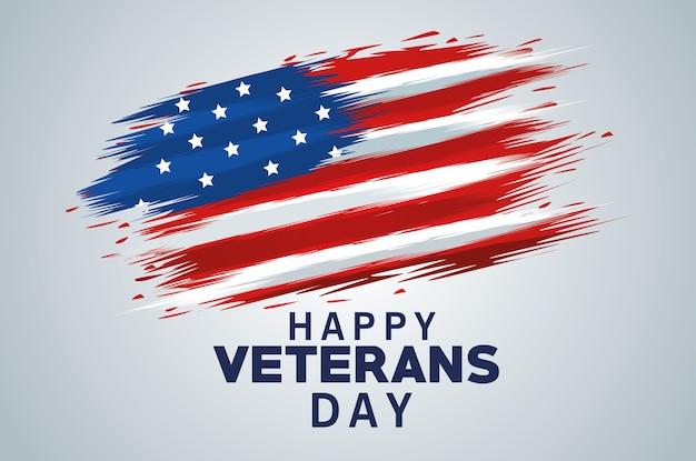 Letras do feliz dia dos veteranos com a bandeira dos eua pintada
