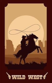 Letras do oeste selvagem em pôster com cowboy amarrando cavalos