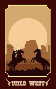 Letras do oeste selvagem em pôster com cowboy em cavalos laçando