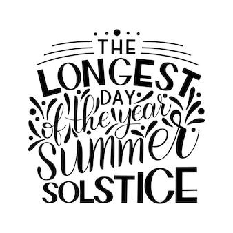 Letras do solstício de verão. elementos para convites, cartazes, cartões comemorativos