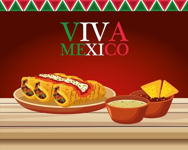 Letras do viva méxico e pôster de comida mexicana com burritos e molhos.