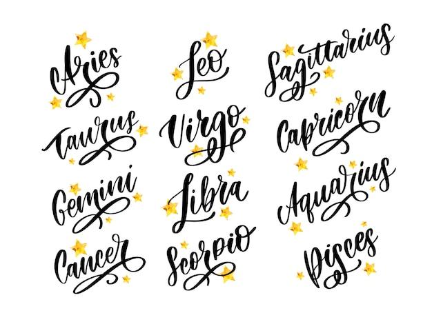 Letras do zodíaco conjunto de horóscopo.
