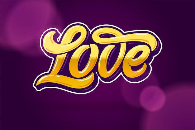 Letras douradas amor sobre um fundo lilás escuro. ilustração. caligrafia moderna para dia dos namorados. ilustração editável.