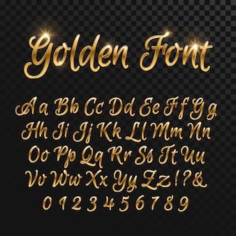 Letras douradas caligráficas. fonte de ouro elegante vintage. roteiro de vetor de luxo. alfabeto dourado caligráfico, caligrafia abc ouro roteiro ilustração