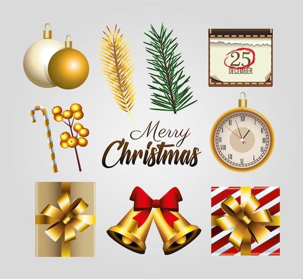 Letras douradas de feliz natal feliz com conjunto de ícones