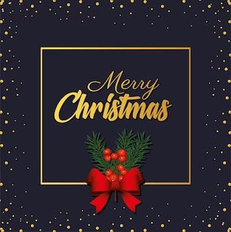 Letras douradas de feliz natal feliz com fita de arco na ilustração de moldura quadrada