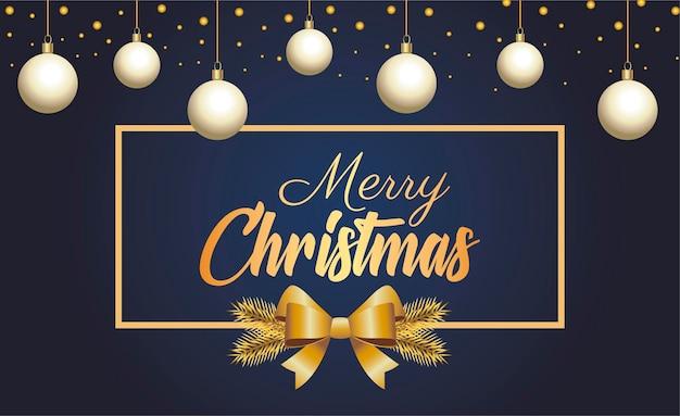 Letras douradas de feliz natal feliz com ilustração de bolas penduradas