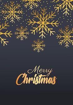 Letras douradas de feliz natal feliz com ilustração de flocos de neve