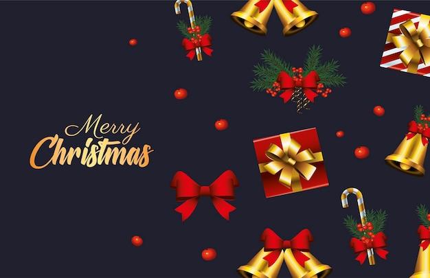 Letras douradas de feliz natal feliz com ilustração de sinos e presentes