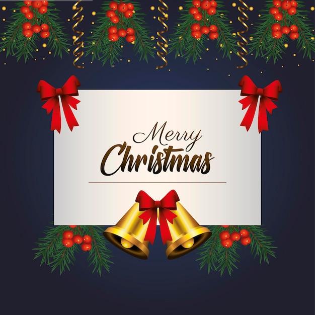 Letras douradas de feliz natal feliz com ilustração de sinos pendurados