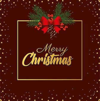 Letras douradas de feliz natal feliz com laço na ilustração de moldura quadrada