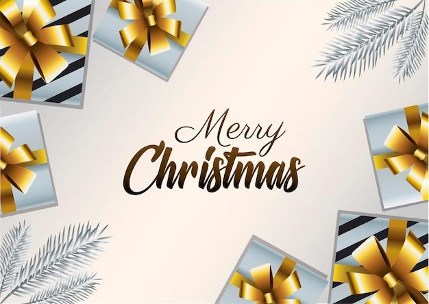 Letras douradas de feliz natal feliz com presentes apresentam ilustração