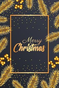 Letras douradas de feliz natal feliz com sementes e ilustração de quadro de primeiros