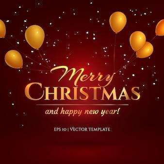 Letras douradas de feliz natal penduradas em balões dourados em um fundo gradiente vermelho com neve