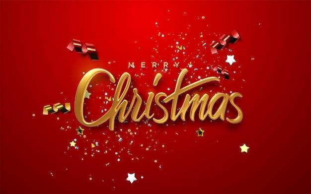 Letras douradas de férias de natal feliz em fundo vermelho com confetes brilhantes e fitas