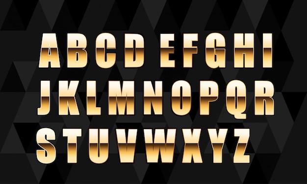 Letras douradas de vetor. jogo, de, ouro, alfabeto