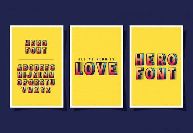 Letras e alfabeto 3d de amor de super-herói em fundos amarelos