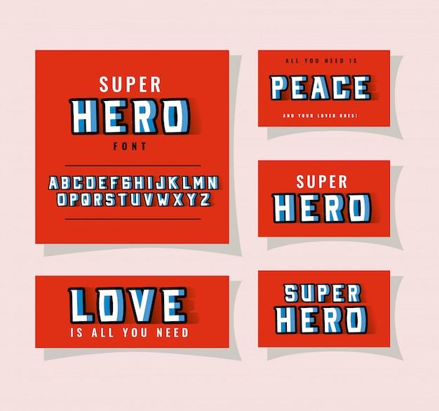 Letras e alfabeto de fonte super-herói 3d em fundos vermelhos